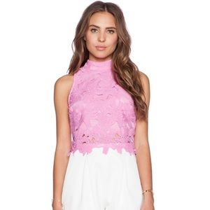 JOA pink lace crop top from revolve 💋💓